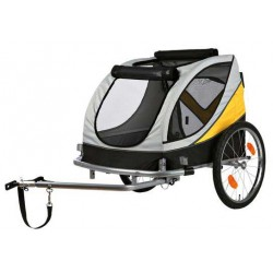 Remorque de vélo L grise et jaune