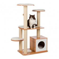 Arbre à chat en bois et cube Laia, 120 cm, brun/blanc