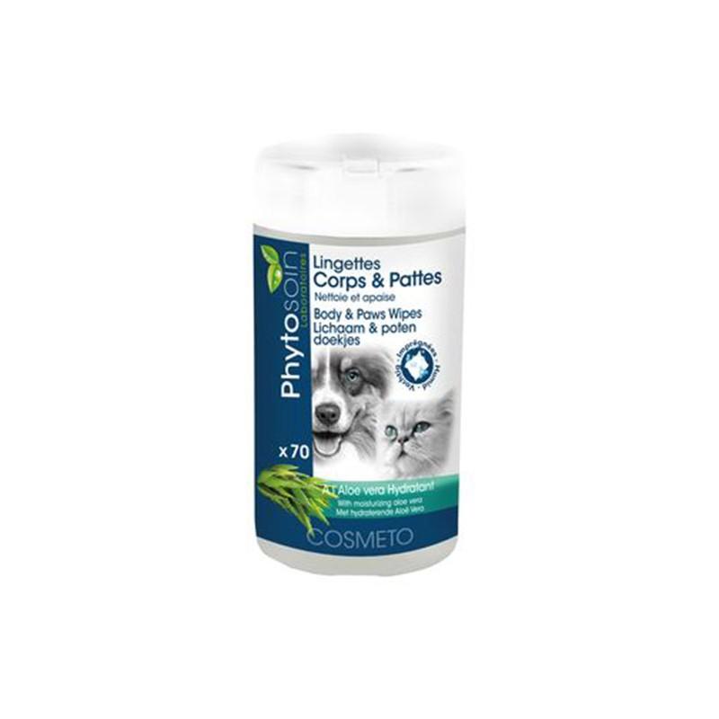 Lingettes nettoyantes corps et pattes pour chien et chat