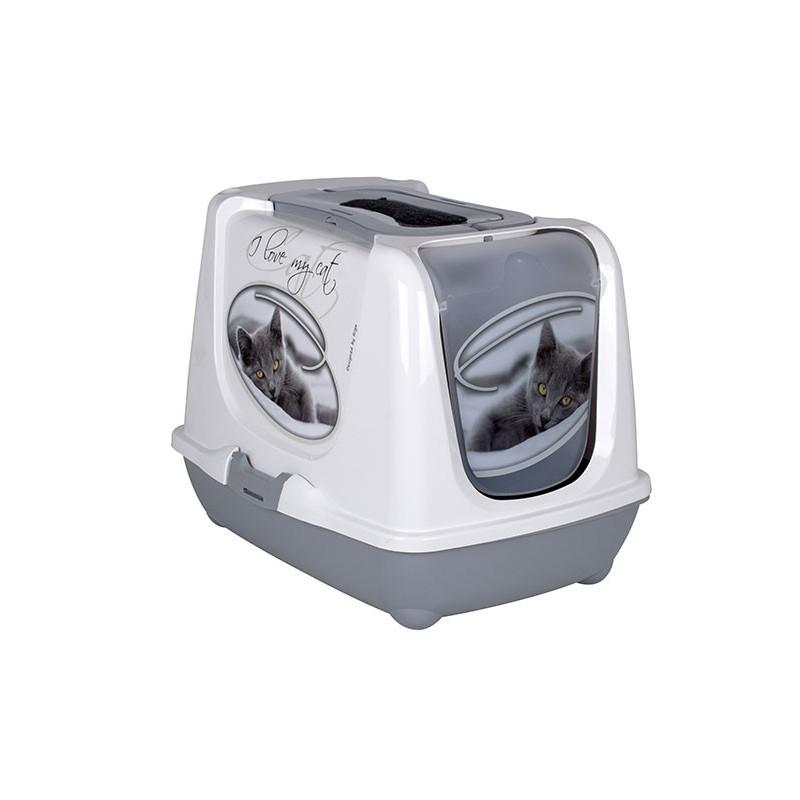 """Maison de toilette  ARIST'O CAT """"I LOVE MY CAT"""" monée, porte + filtre + pelle"""